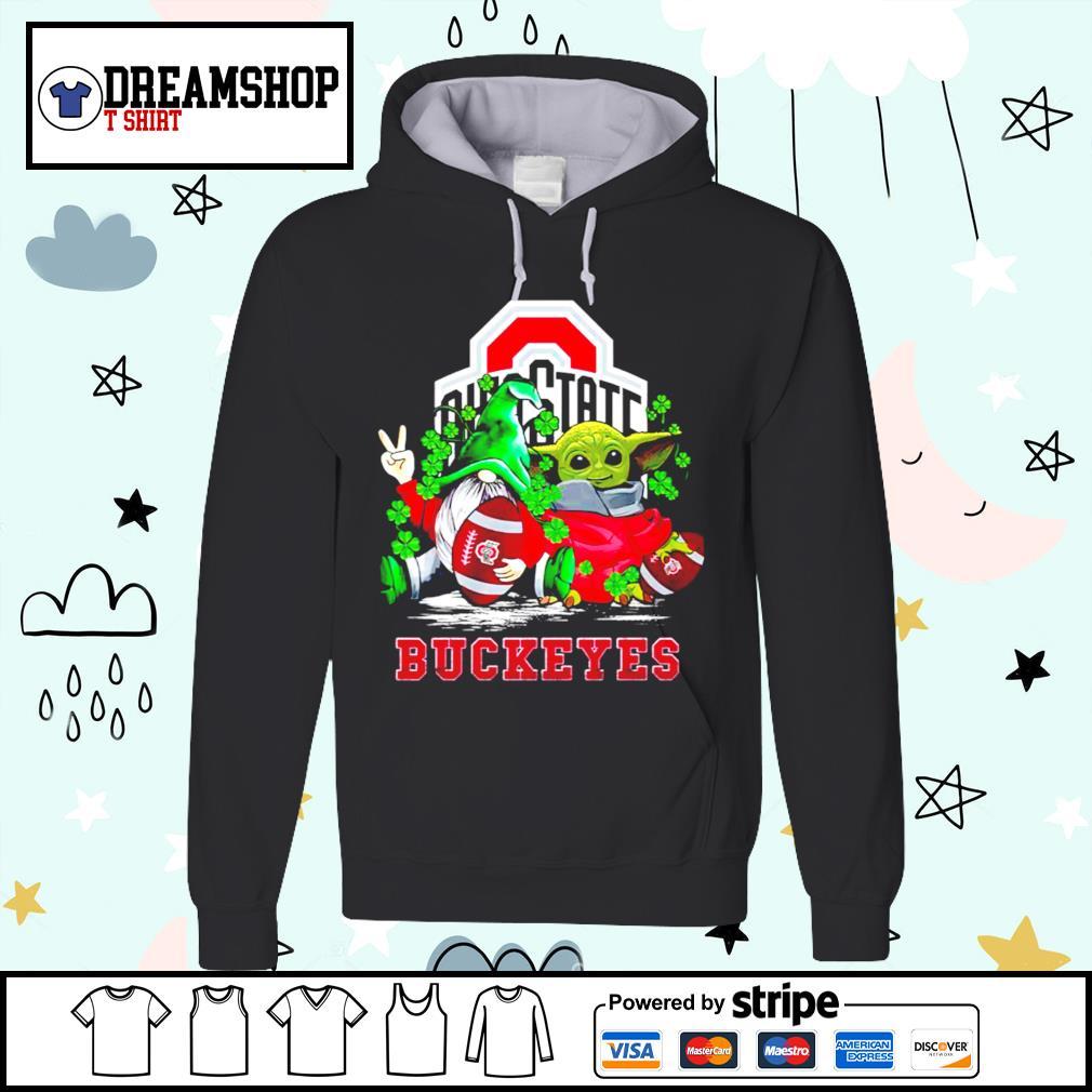 St.Patrick's day Gnome and Baby Yoda Ohio State Buckeyes s hoodie