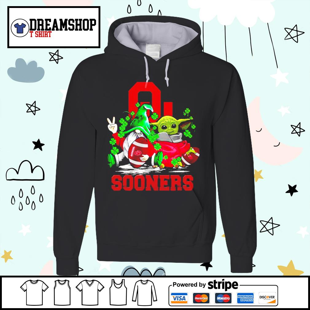 St.Patrick's day Gnome and Baby Yoda Oklahoma Sooners s hoodie