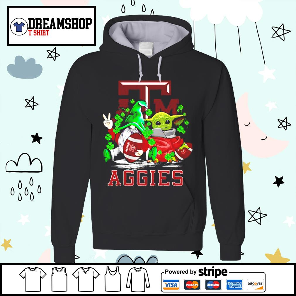 St.Patrick's day Gnome and Baby Yoda Texas A_M Aggies s hoodie