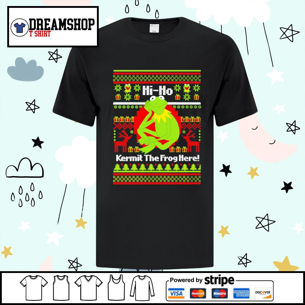 Hi ho Kermit the frog here ugly Christmas shirt, sweater