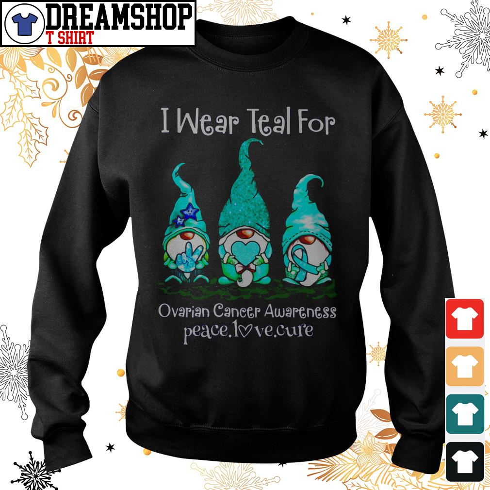 Gnome I Wear Teal For Ovarian Cancer Awareness Peace Love Cure Shirt